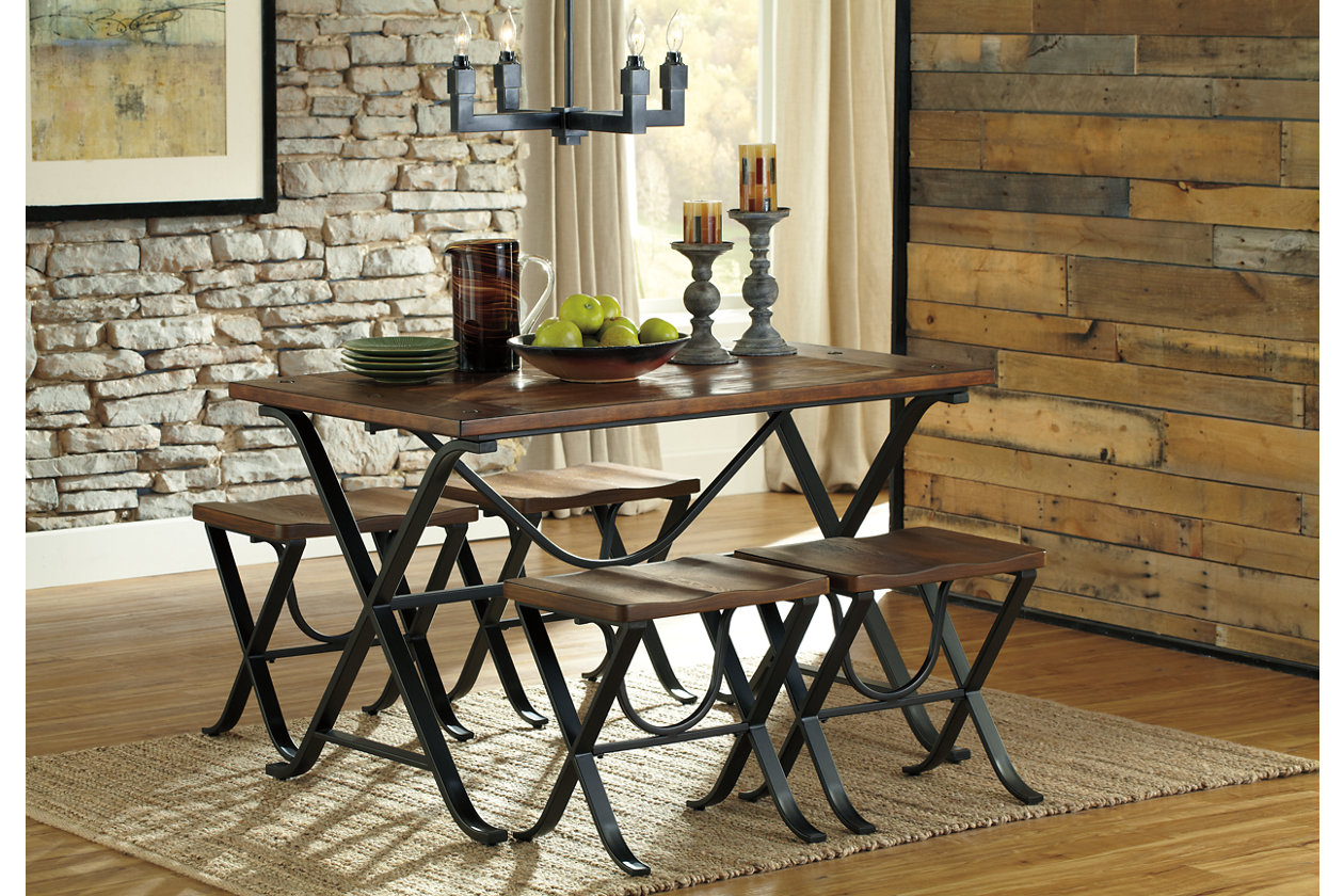 Freimore Dining Room Table And Stools Set Of By Ashley